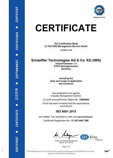 Certificado de Tecnologías de Schaeffler